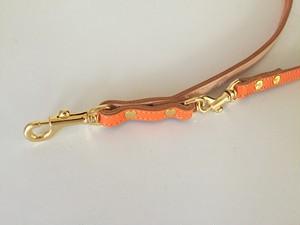アウトレット!ヌメ革 オレンジ 革リード♪カフェスタイル 小・中型犬用 145cm 95cm