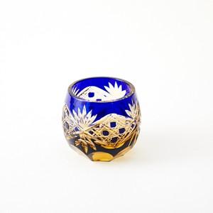 記念品に江戸切子 琥珀色瑠璃被せぐい呑