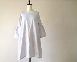 ダブルガーゼ*ふんわり袖のシンプルワンピース*ライトグレー*コットン100%
