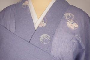 未使用 【夏】洗える着物 紗 小紋 雪輪 化繊 紫 薄藤色 215