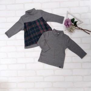 暖か 着る保湿クリーム長袖Tシャツと 暖か チェックカットソーチュニックのセット(グレー) 双子ベビー服2枚セット  ミックスツイン  <19aw-mt006r-H>