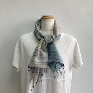 ストール  短め 縦113x横33 手織り 木綿 藍染 草木染 ハンドメイド くびもつ 結工房 日本製 PKYLSTL3