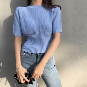 【トップス】韓国系春夏スタイリッシュ無地スリム着痩せ半袖Tシャツ