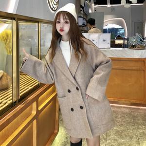 【アウター】ファッション秋冬折り襟ダブルブレスト無地ラシャアウター