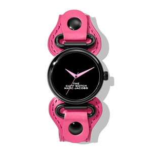 THE MARC JACOBS ザ マーク ジエイコブス THE CUFF WATCH 36㎜ ザ カフ ウォッチ GLOSSY BLACK DIAL/BLACK CASE/PINK LEATHER STRAP 腕時計 レディース 20179296