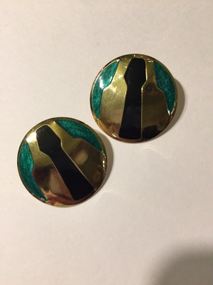 Vintage gold black green pierced earrings ( ヴィンテージ  ピアス )