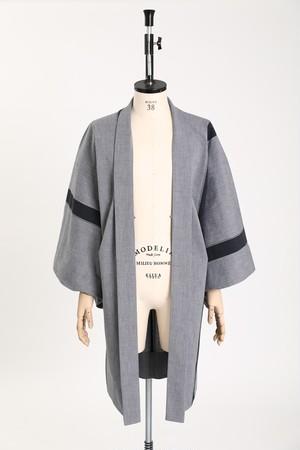 羽織 / 片貝木綿 / One line / Gray×Black(With tailoring)