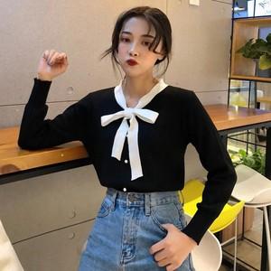 【トップス】無地Vネック長袖キャンパスシャツ