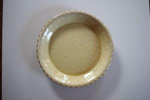 舩木伸児(舩木窯)|スリップウェアプレート 淡黄色