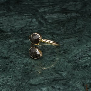 DOUBLE STONE RING GOLD