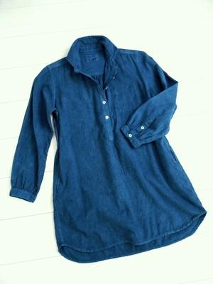 ◆天然灰汁発酵建て 本藍染◆ 高級手織り生地(カディコットン)チュニック