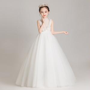 8400子供ドレス キッズドレス フォーマルドレス ジュニア 女の子ドレス  発表会 コンクール ピアノ 演出服 ロング マキシ丈 白色ホワイト90-160cm