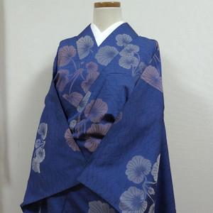 瑠璃紺色に葉 単衣 アンティーク小振袖