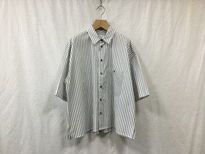 "bukht""LOOSE SHIRTS S/S-STRIPE FAB-Black Stripe"""