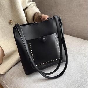 【小物】実用性も抜群ファッション大容量レトロ配色ホックショルダーバッグ