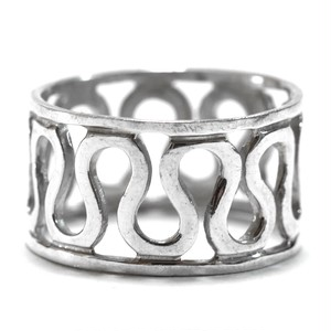 Vintage Sterling Silver Mexican Snake Pattern Wide Ring