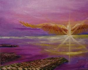 『夕日の羽』油絵