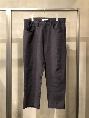 T/f G4 linen pinstripe straight ankle pants  - imperfection black