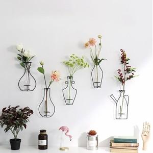 wire wall flower vase 5types / ワイヤー 壁掛け 花瓶 ブラック 韓国 インテリア 雑貨