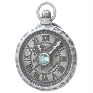 (11月)ブルートパーズ ホワイト アンティーク ウォッチ シルバーピンバッジ ピンズ 誕生石*BK-1116
