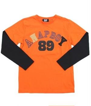 [BOY]バイカラーロゴナンバープリントロングTシャツ