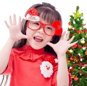 X'mas 赤メガネ リボンとサンタ帽子付き♡ nfab130