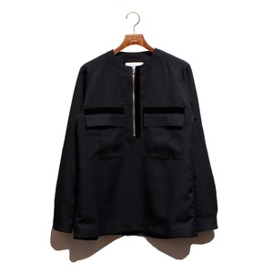 Enharmonic TAVERN No Collar Half Zip Shirt -black <LSD-AH3S3>
