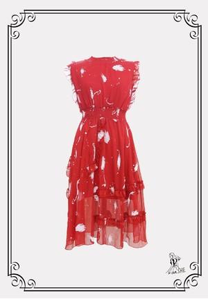 【残り1点】Sleeveless Ruffle Chiffon Dress / フリルショルダー シフォンギャザーワンピース