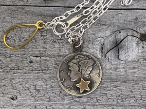 Button Works ボタンワークス Mercury Dime Coin Necklace-Star
