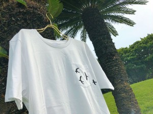 Birds Pocket T-shirts 【White】