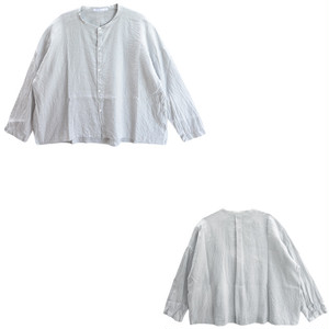 LAITERIE(レイトリー)ワッシャーリネンバンドカラーシャツ LB16101