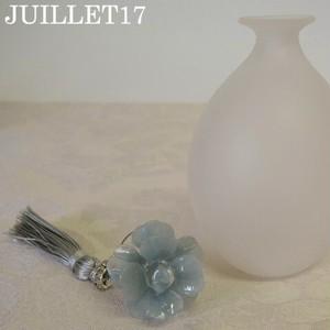 香水瓶L グレー フラワー ムラーノガラス