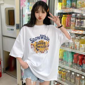 【トップス】カートゥーンプリントコットンカジュアルゆったり半袖Tシャツ