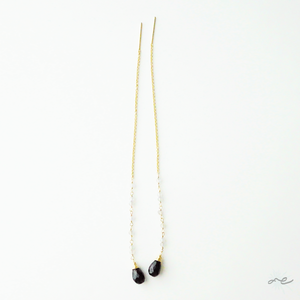 Labradorite×Black Spinel Threader Earrings/14KGF