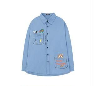 メンズユニーク長袖シャツ。熊やロゴプリントがおしゃれブルー/ホワイト/ブラック3カラー