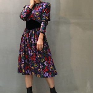 80's mulch color flower print dress