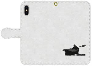 手帳型スマホケース・白レザー調 iPhone 8 Plus, 7 Plus, 6 Plus, 6s Plus, アンドロイド用Lサイズ パドリングシルエット(Leo R. Yamada)・ブラック