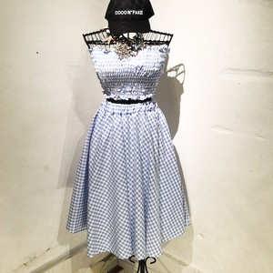 Gingham Check Cotton Set Up / Sax