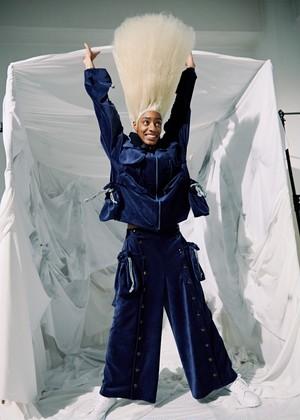 KANEHIRO 巾着ベロアパイルパンツ 紺