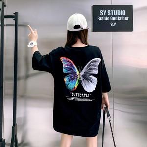 トップス Tシャツ オーバーサイズ バタフライ バックプリント 体型カバー キレカジ ストリート系 カジュアル オルチャン 韓国 原宿系 10代 20代