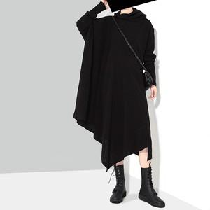 ニットワンピース スカーフネック アシンメトリー 韓国ファッション レディース 不規則デザイン アシメ ハイネック 大人カジュアル 大人可愛い ガーリー 574182940312