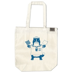 【ポケット付トートバッグ】ネコおっさん 水兵