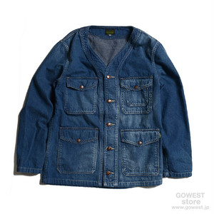 GOWEST NO COLLAR JACKET/JAZ NEP WORK DENIM USED WASH