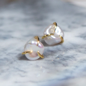 Freshwater Pearl Simple Gold Earrings 淡水 パール シンプル ゴールド ピアス
