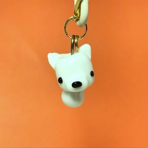 動物とんぼ玉チャーム *白犬*