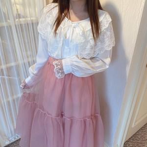 big lace collar  blouse