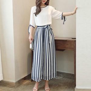 【セット】ファッションシフォンシャツ+ストライプ柄ガウチョパンツ2点セット18932983