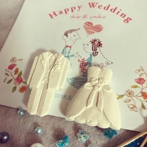 ウエディングドレスとタキシード/わんさんぼんのお干菓子