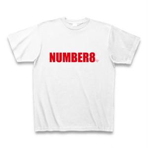 Number8(ナンバーエイト) ロゴスモールダイヤモンドTシャツ(ホワイト×レッド)
