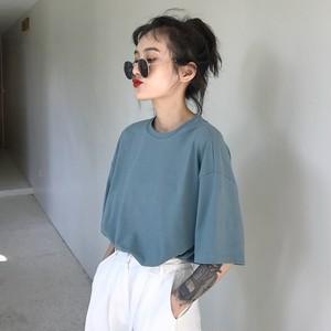 【トップス】ラウンドネックプルオーバー半袖簡約Tシャツ